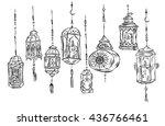 hand drawn ramadan kareem and...   Shutterstock .eps vector #436766461