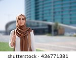 girl in a hijab on city... | Shutterstock . vector #436771381