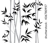decorative bamboo branches.... | Shutterstock .eps vector #436780957