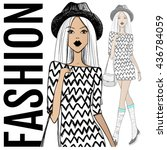 fashion illustration.vector... | Shutterstock .eps vector #436784059