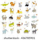 cute zoo alphabet with cartoon... | Shutterstock .eps vector #436785901
