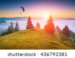 paraglide silhouette in a light ... | Shutterstock . vector #436792381