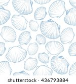 seamless pattern with seashells.... | Shutterstock .eps vector #436793884