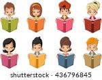 cute cartoon children reading...