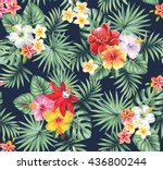 Stock vector tropical seamless pattern with palm leaves and flowers vector illustration 436800244