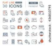 set vector line icons in flat... | Shutterstock .eps vector #436810795