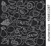 blackboard fruits doodle icon... | Shutterstock .eps vector #436811287