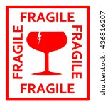 fragile red sign vector | Shutterstock .eps vector #436816207