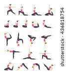 Women Yoga Poses Set.
