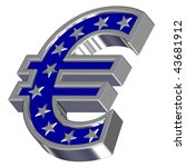 Silver-blue Euro sign with stars isolated on white. Computer generated 3D photo rendering. - stock photo