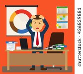 businessman stress at work.... | Shutterstock .eps vector #436829881