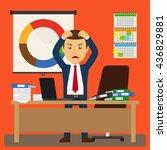 businessman stress at work.... | Shutterstock .eps vector #436829881