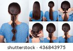 simple hairstyle twisted pony... | Shutterstock . vector #436843975