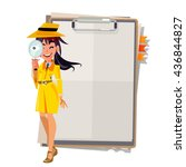 cute detective girl with... | Shutterstock .eps vector #436844827