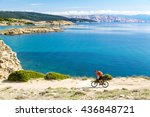 mountain biker riding on bike... | Shutterstock . vector #436848721