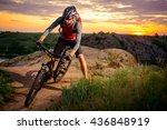 cyclist riding the bike on the... | Shutterstock . vector #436848919