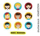 cute cartoon kids user avatars ... | Shutterstock . vector #436852504