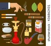 smoking tobacco decorative... | Shutterstock .eps vector #436862431
