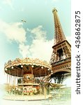 vintage postcard of eiffel... | Shutterstock . vector #436862875
