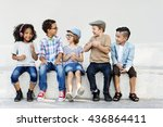 smart fashionable cheerful... | Shutterstock . vector #436864411