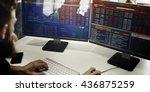businessman working finance... | Shutterstock . vector #436875259