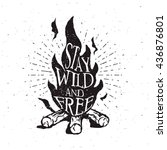 hand drawn campfire typography... | Shutterstock .eps vector #436876801