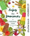 menu fruit ice cream guest card.... | Shutterstock .eps vector #436880119