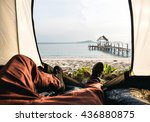 tent lookout on a camp on the... | Shutterstock . vector #436880875