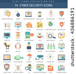 vector cyber security flat icon ... | Shutterstock .eps vector #436886191