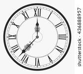 black wall clock roman numeral  ... | Shutterstock .eps vector #436888957