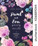 vintage watercolor floral... | Shutterstock .eps vector #436889044