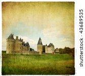 french castle - artistic retro picture - stock photo