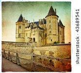 Saumur castle - artistic retro picture - stock photo