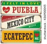 retro tin sign collection with... | Shutterstock .eps vector #436900045