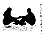 silhouette of a couple sitting... | Shutterstock .eps vector #436904074
