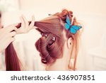 hair stylist makes the bride on ... | Shutterstock . vector #436907851