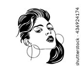 stylized portrait of a girl   Shutterstock .eps vector #436924174