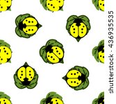 yellow ladybugs on leaves... | Shutterstock .eps vector #436935535