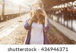 girl adventure hangout... | Shutterstock . vector #436946371