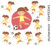 set of girl playing football.... | Shutterstock .eps vector #436952041