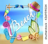 summer illustration  beach... | Shutterstock .eps vector #436959034