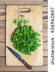 chopped spinach  lettuce ... | Shutterstock . vector #436962847
