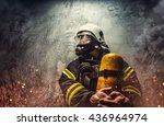Firefighter In Oxygen Mask...