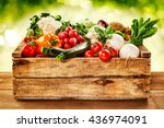wooden crate of farm fresh... | Shutterstock . vector #436974091