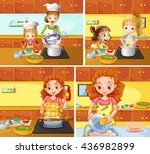 mother and daughter cooking and ... | Shutterstock .eps vector #436982899