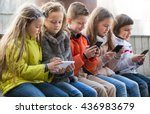 ordinary kids sitting with... | Shutterstock . vector #436983679