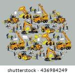 building construction worker... | Shutterstock .eps vector #436984249