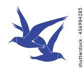 Two Blue Seagulls Cartoon Bird...