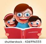 reading book for story telling... | Shutterstock .eps vector #436996555