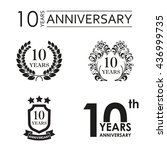 10 years anniversary set.... | Shutterstock .eps vector #436999735